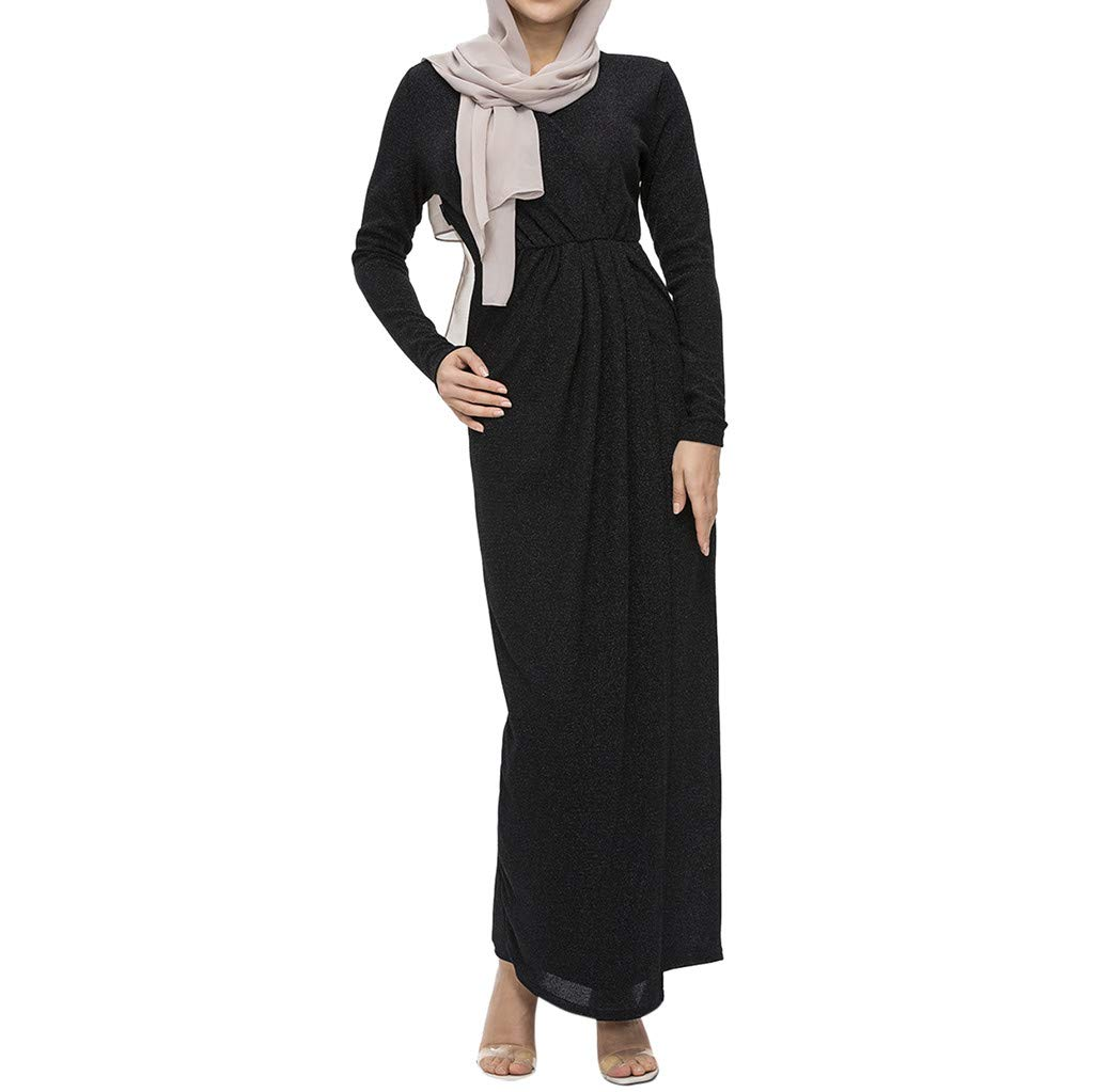 Muslim Elegant Long Dress Women Modest Maxi Dress Caftan Abaya Turkey Puff Sleeve Long Robe Solid Pleated Slit Flowy Dress (L, Black) by PaJau