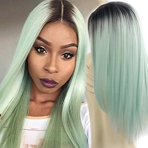 26'' Cosplay Wig Long Straight Hair Heat Resistant Fiber Party Wigs Green Black Roots None Front Lace Full Wigs(Green) -