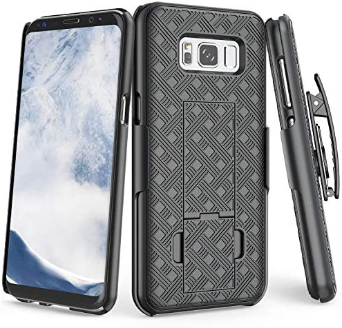 TILL Compatible for Galaxy S8 S VIII Case, [Thin Design] [Black] Full-Body Holster Armor Case [Built-in Kickstand] Locking Belt Swivel Clip Non-Slip Texture Combo Hard Shell Cover for S8 5.8 Inch