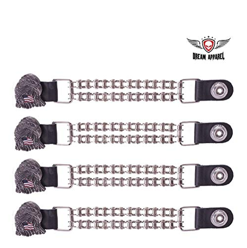 Double Chain Eagle W/USA Flag Motorcycle Vest Extender Black