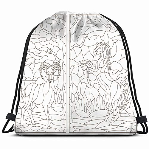 Stained Glass Panorama - Set Contour Stained Glass Windows Animals Wildlife Horse Nature Drawstring Backpack Bag Sackpack Gym Sack Sport Beach Daypack For Girls Men & Women Teen Dance Bag Cycling Hiking Team Training