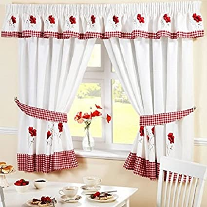 Poppy Gingham Kitchen Embroidered Drapes Curtains Red White W46 X L42 Inc Tie Backs