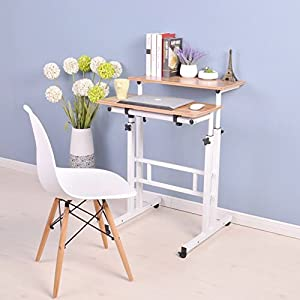 White adjustable sit to stand desk