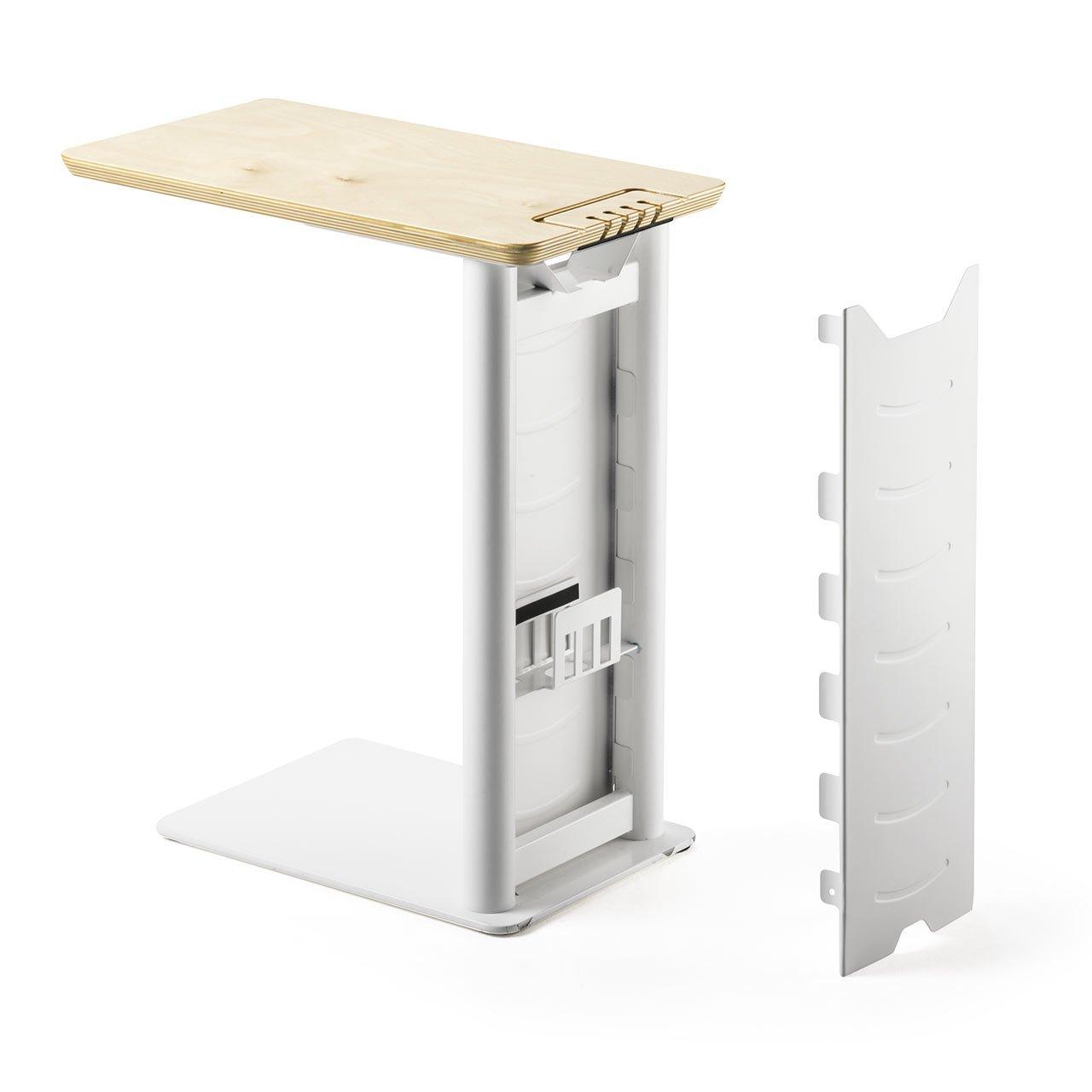 サンワダイレクト サイドテーブル ソファ ベッド USB充電器収納 充電スタンド 天然木 ホワイト 200-STN030W B07B8WSRZ3 高さ52cm(ホワイト)