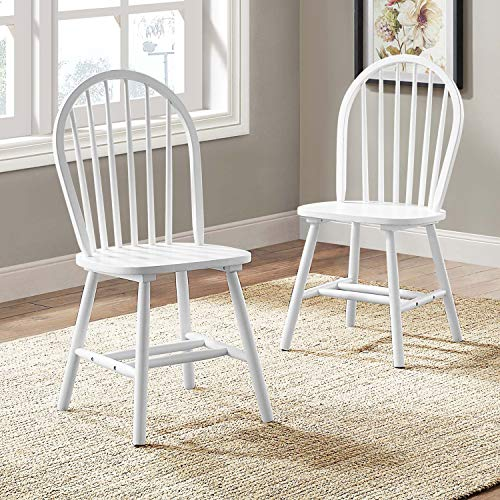 Autumn Lane Windsor Solid Wood Dining Chairs, Set of 2, Sturdy Long-Lasting Wood Leg Construction, Contemporary Simple Design, Easy Assembly, Durable Every Day Use, Stylish, Multiple Finishes ()