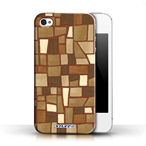 Etui / Coque pour Apple iPhone 4/4S / Brun/Blanc conception / Collection de Carrelage Mosaïque