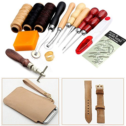 Wheel Embossing (14 PCs Leathercraft Basic Accessories Tools Kit for Hand Sewing Stitching Wheels and Stamping Groover Leather Craft DIY)