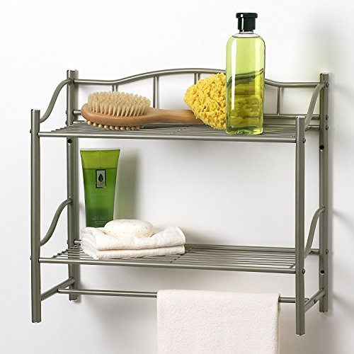 Bathroom Double Wall Shelf Organizer with Towel Bar Brushed Chrome Pearl Nickel
