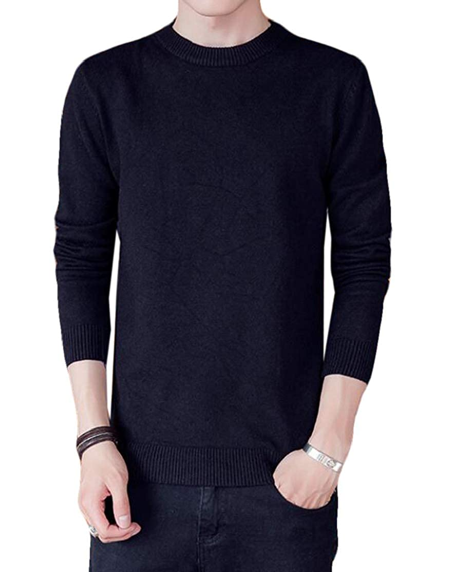 BU2H Men Casual Solid Knitted Long-Sleeve Crewneck Pullover Sweaters