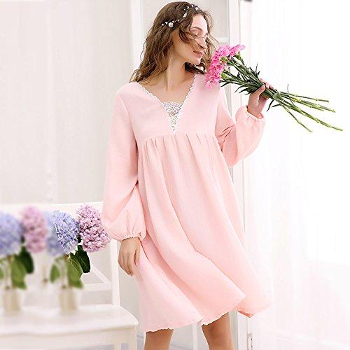 Pyjama de dentelle Ladies court ¨¤ manches longues Poly/coton Nightdress mode ¨¦t¨¦ Accueil jupe robe