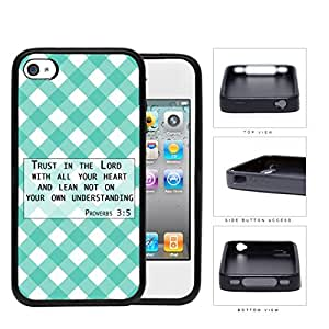 Proverbs 3:5 Bible Verse with Teal & White Stripes Diamonds Pattern [iPhone 4 4s] Rubber Silicone TPU Cell Phone Case by icecream design