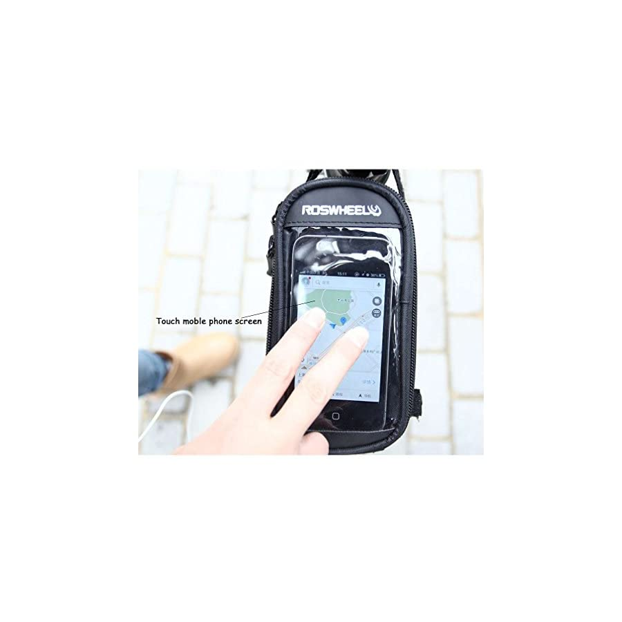 COTEetCI Bicycle Frame Front Tube Beam Bag Transparent PVC Cycling Pannier Pouch Basket for 5.7 inch Mobile Phone Screen Touch Holder