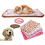 Super Cozy Pet Blanket,Warm Wraps for Small Cats & Dogs,No Shedding Velvet Doggy Bed Cover,4 Pack Pink/White/Brown/Purple
