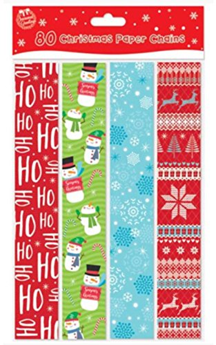 Christmas Paper Chains Uk.Pack Of 80 Printed Creative Christmas Paper Chains Christmas Party Decoration