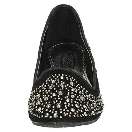 Spot Ballerina Girls Low Flats On Black Wedge Studded SZS1qa