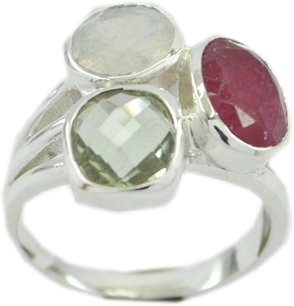 Jewelryonclick v/éritable Multi Pierres pr/écieuses Argent Sterling 925/D/éclaration Anneaux pour Femme Cadre Style Taille H-z