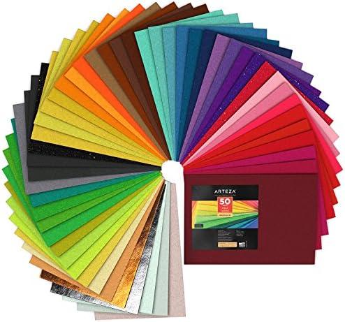 Arteza Fogli in Feltro Colorato, 50 Fogli A4 21×30 cm, Pannolenci Rigido da 1,5 mm, Ideale per Lavoretti e Idee Creative