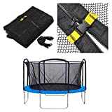 oldzon Trampoline Net 13'' Enclosure Netting Round Frame 4 Arch/8 Pole Replacement Mesh Parts With Ebook
