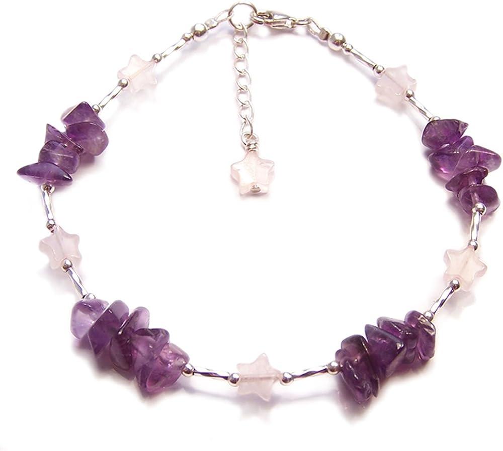Amethyst - Pulsera de plata de ley con piedras preciosas de cuarzo rosa y morado