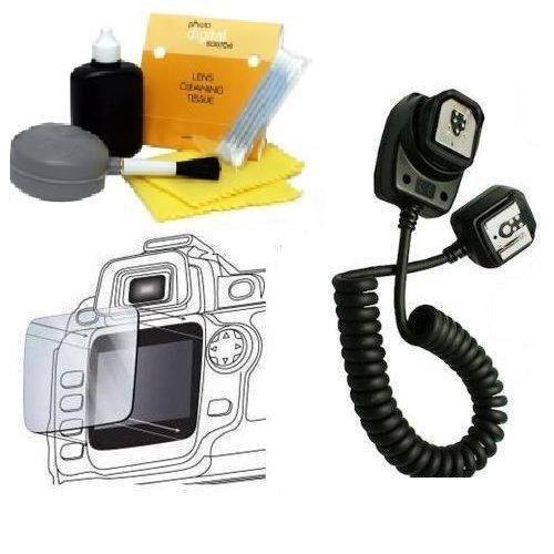 E-TTL / E-TTL II Off-Camera Flash Sync Cord for Canon EOS Cameras & Speedlite Flashes (Canon OC-E3 Equivalent) +DIGI TECH Professional Cleaning Kit + LCD Screen Protector