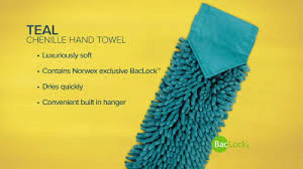 Norwex Chenille Hand Towel with BacLock - Teal