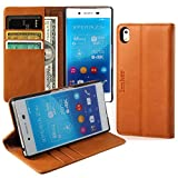 Innker Sony Xperia Z4 Z3+ Z3 Plus 5.2 Inch Genuine Leather Wallet Case Luxury Durable Card Slots Flip Cover with Kickstand Brown