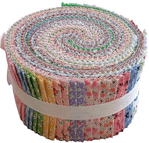 - Vintage Floral Miniatures Jelly Roll Collection 40 Precut 2.5-inch Quilting Fabric Strips
