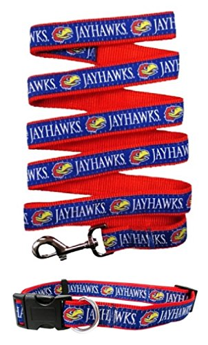 Kansas Jayhawks Nylon Pet Collar and Matching Leash for Pets (NCAA Official by Pets First) Size Large by Pets First