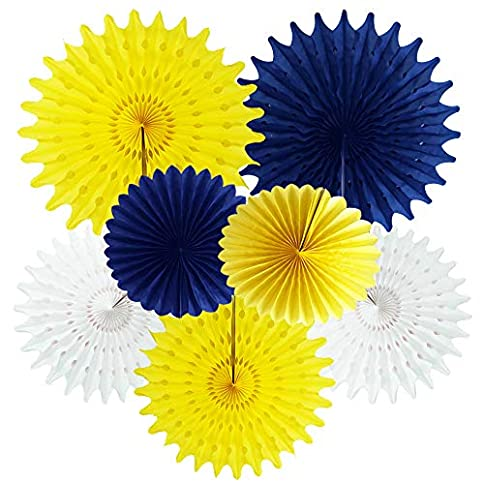 - 51dTxvqwLtL - Navy Yellow 2019 Graduation Party Decorations Bridal Shower Decorations Navy Yellow White Tissue Paper Fan Decorations Navy Bue Yellow Birthday Party Decorations Baby Shower Decorations