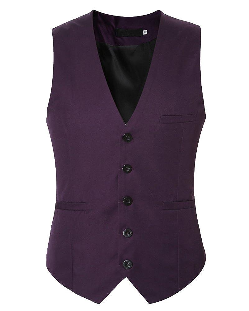 Homme Gilet Costume Veste Slim Fit Sans Manches Business Mariage Veste 3957645a3e19