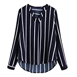 Women Long Sleeve Stripe Chiffon Blouse V-Neck Loose Casual Shirt High Low Top(Navy,Small)