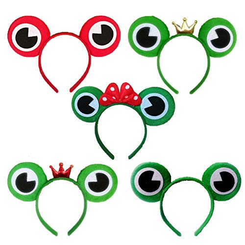 ECOLOG Set of 5 Frog Prince Head Band,Mouse Ears Novelty Animals Eyes Hair Accessories for Headwear Halloween Party Masquerade Party Baby Shower and More,Five Types for Boys Girls Adults ()