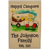Personalized Happy Campers Class C Motorhome Camping Flag, Watercolor Design (Tan Fabric, Brown Trim Color) For Sale