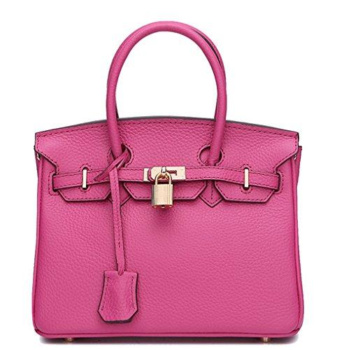 Bolsos de señora Xinmaoyuan lichi rayas Packcowhide Bolso bandolera Platinum Rosa roja