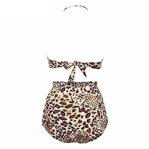 Erica Bikiní para mujer Bandeau Bikinis Dos piezas Set Swimsuit Vintage Polka Dots Leopard Sujetador acolchado inalámbrico leopard
