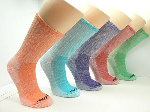 Womens Merino Wool Colorful Assorted Hiking Socks (3 PK) (Medium (Women's 5-9/Men's 4-8), Assortment 1(Royal Blue/Orange/Lime))