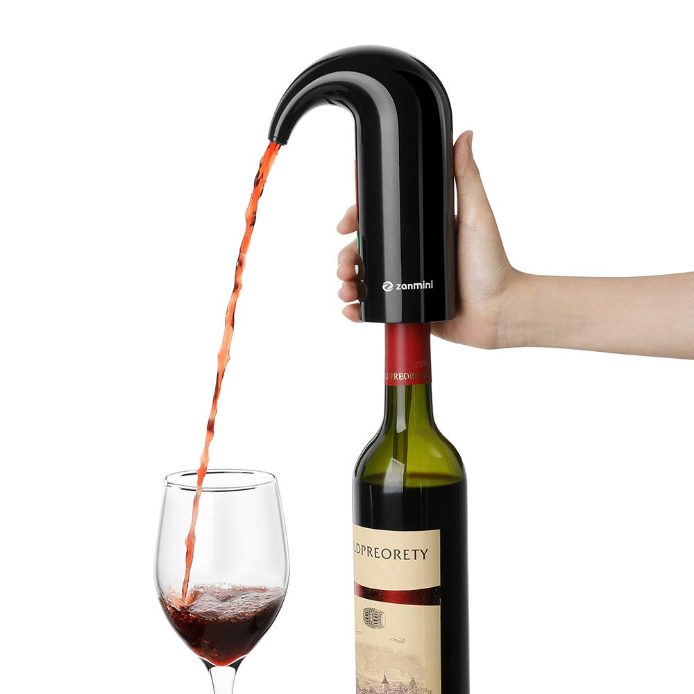 zanmini Electric Wine Aerator, Portable Wine Decanter Pump and Dispenser for Red and White Wine, Triple Functions to Aerate Wine, Instant One Touch Operation, USB Rechargeable Battery