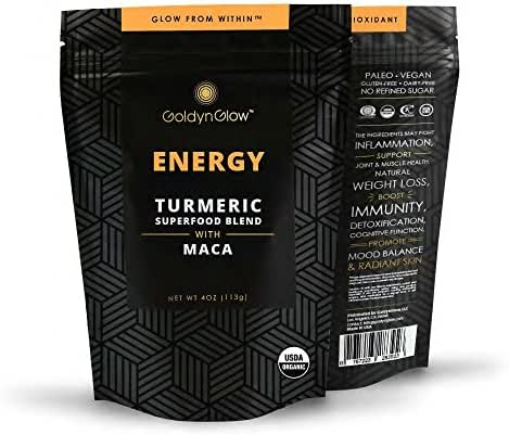 GoldynGlow ENERGY - Organic Turmeric Superfood Blend w/ MACA, Helps with Adrenal Health and fatigue. Golden Milk Elixir, Mix in Juice and Smoothies. Non-GMO, Vegan, Gluten-Free Adaptogen - 25 Servings