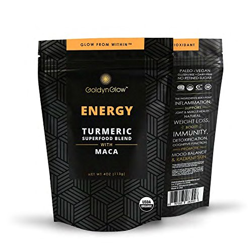 Energy Elixir - GoldynGlow ENERGY - Organic Turmeric Superfood Blend w/ MACA, Helps with Adrenal Health and fatigue. Golden Milk Elixir, Mix in Juice and Smoothies. Non-GMO, Vegan, Gluten-Free Adaptogen - 25 Servings