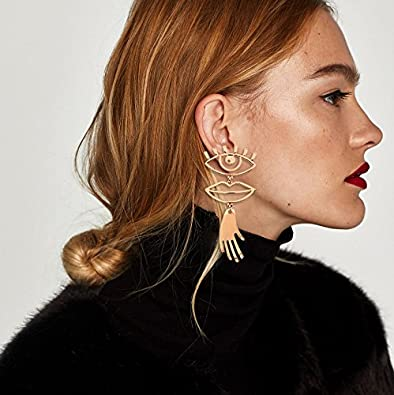Fashion Earrings Taste Eyes And Lips Mosaic Hollow Design Funny Alloy Earrings