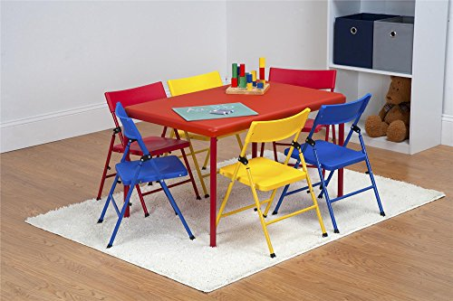 Cosco Kids Furniture 7 Piece Children's Juvenile Set with Pinch Free Folding Chairs & Screw in Leg ()