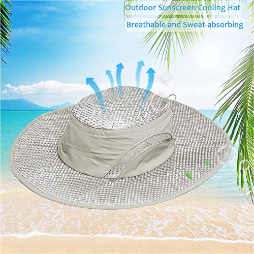yingyi Summer Cooling Hat Wide Brim Sunscreen Hydro Cooling Sun Cap with Anti UV Feature for Men Women Hot Weather Gardening Yard Beach Outdoor Planing Hiking Fishing Camping (1pcs Hat)