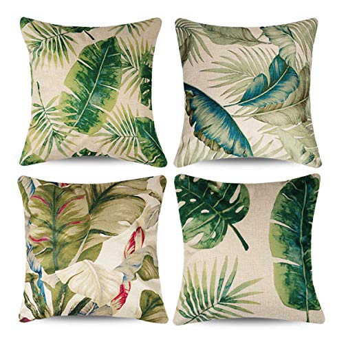 (CARRIE HOME Palm Leaf Outdoor Throw Pillow Covers 18x18 Double Side Printing Tropical Party Decorations for Sofa/Couch/Bed/Patio, Set of 4)