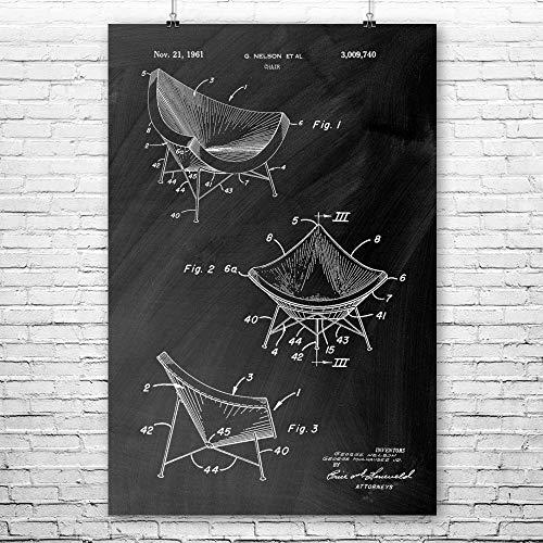 Patent Earth Herman Miller Chair Poster Print, Designer Gift, Interior Decorator, 60s Notalgia, Lounge Chairs, Retro Furniture Chalkboard (Black) (9
