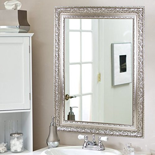 Hans&Alice Large Silver Vanity Wall-Mounted Mirror, 37.5''X25.5''. Luxury for Bathroom, Living Room, Bed Room. Hooks and Rope Included by Hans&Alice (Image #5)