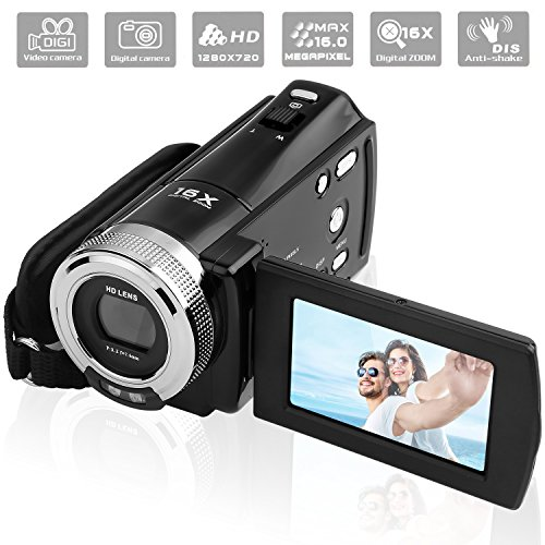 Video Camera Camcorder, GordVE 1280 x 720P 16MP 2.7 inch LCD 270 Degrees Rotatable Screen 16X Digital Zoom Digital Camera Recorder