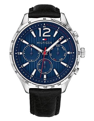Tommy Hilfiger Men's Stainless Steel Quartz Watch with Leather Calfskin Strap, Black, 20 (Model: 1791468)
