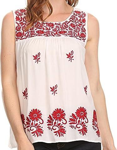 Sakkas 812 - Devika Sleeveless Tank Top Batik Blouse With Embroidery - White - M (Sakkas 3x)