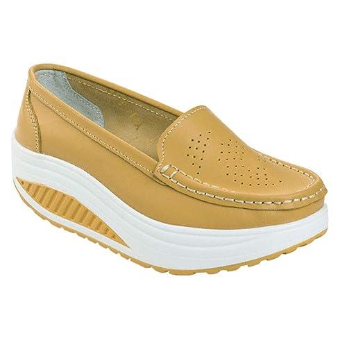 Daytwork Mocasines Plataforma Informal Conducción - Mujer Slip-On Zapatillas de Deporte Cuero Casual Cuña Confort Caminar Bajo-Top Zapatos: Amazon.es: ...