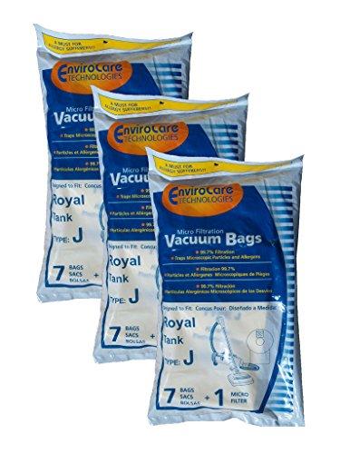 21 Royal Tank Type J Allergy Vacuum Bags + 3 Filters, Dirt D